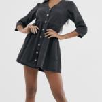 soft denim tea dress in black